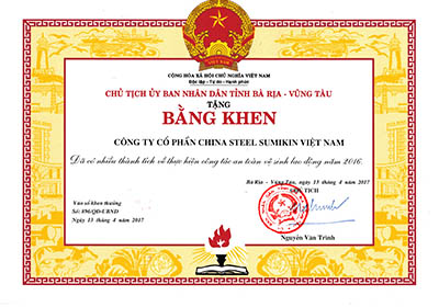 Certificate of good performance in activities to ensure Occupational Health & Hygiene in 2016 from People's Committee of Ba Ria-Vung Tau Province