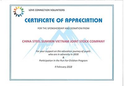 Certificate of Appreciation for the sponshorship and donation for support on the education journey of pupils who are in adversity in 2018 & participation in the Run for Children Program from BR-VT Human Resources Manager Group
